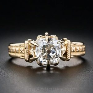 Victorian Cushion-Cut Diamond Engagement Ring.