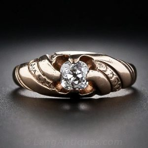 Victorian Swirl Motif Diamond Engagement Ring.