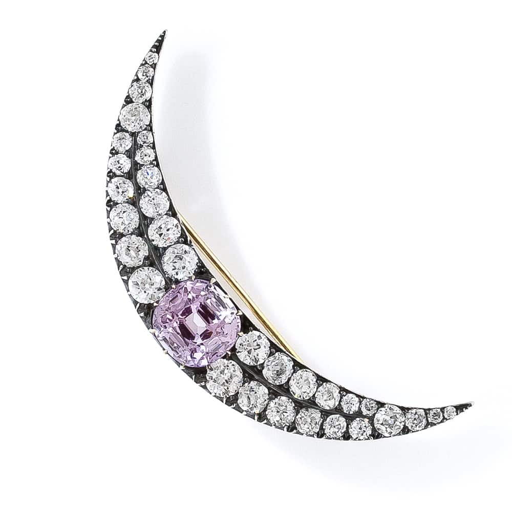 Victorian Fancy Sapphire and Diamond Crescent Pin.jpg