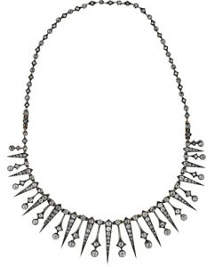Victorian Diamond Diamond Fringe Necklace. Circa 1890.