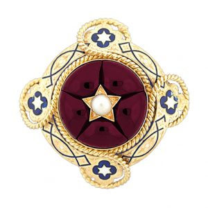 Victorian Garnet Brooch with Inset Star Motif and Pearl.