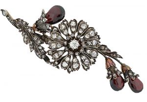 Victorian Garnet and Diamond Floral Brooch.