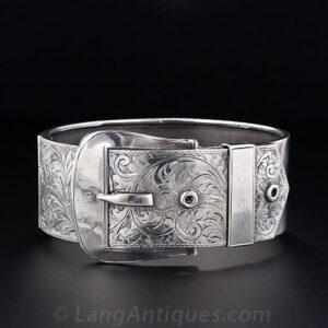 """Victorian Engraved Silver """"Garter"""" Bracelet."""