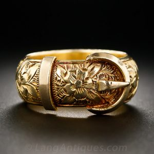 Victorian Engraved Gold Garter & Buckle Motif Ring.
