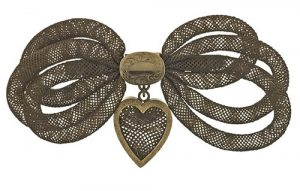 Victorian Hairwork Bow Brooch.