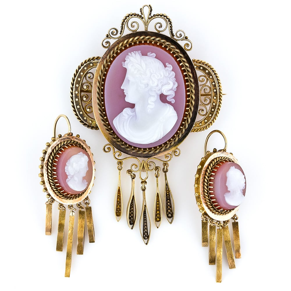 Victorian Hardstone Cameo Brooch and Earring Set.jpg
