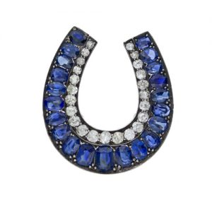 Victorian Diamond and Sapphire Horseshoe Brooch.