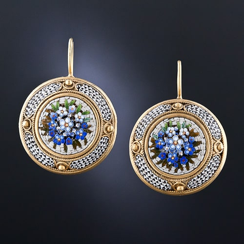 Victorian Micromosaic Earrings.