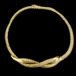 18 Karat Yellow Gold Ouroboros Necklace