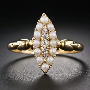 Victorian Navette Shaped Pearl and Diamond Ring.