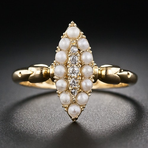 Victorian Pearl Diamond Navette Shape Ring.jpg