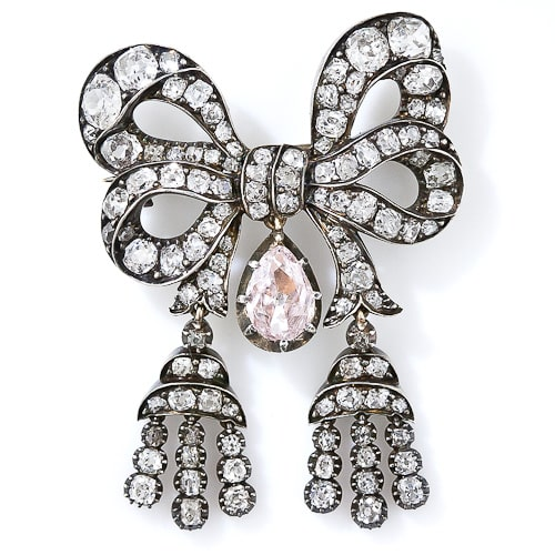 Victorian Pink Diamond Drop Bow Brooch.jpg