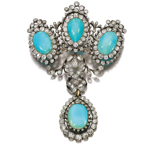 Victorian Rose Cut Diamond Turquoise Brooch.jpg