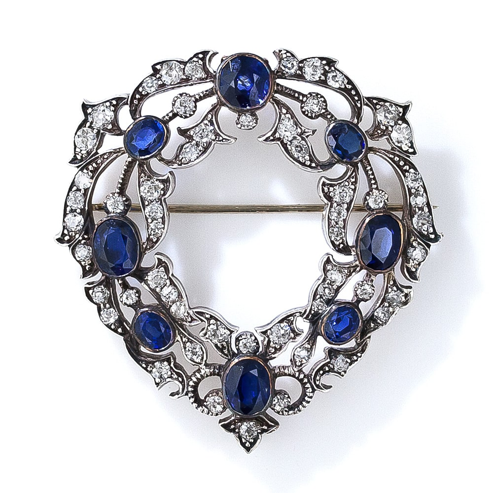 Victorian Sapphire and Diamond Wreath Brooch.jpg