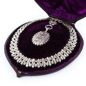 Victorian Silver Collar and Locket, c.1880 Birmingham.