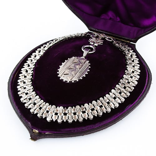 Victorian Silver Collar and Locket, c.1880 Birmingham.