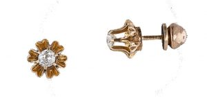 Petite Victorian Diamond Stud Earrings Circa 1890.