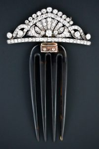 Victorian Diamond Hair Comb and Brooch Combination. Circa 1880.