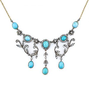Late Victorian Turquoise and Diamond Necklace. Circa 1890.