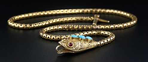 Victorian Diamond, Ruby, Turquoise and 15K Gold Articulated Snake Necklace Symbolic of Wisdom.