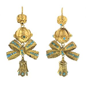 Pair of Victorian Turquoise Bow Motif Earrings.