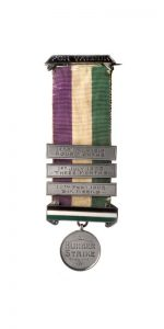 Hunger Strike Badge with Additional Bars on WSPU Ribbon.