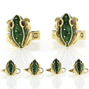 Webb Enamel Gold Frog Dress Set.