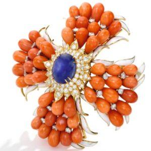 Webb Coral, Diamond & Sapphire Brooch.
