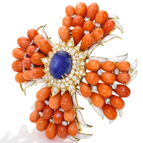 Webb-Coral--Sapphire-Brooch