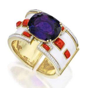 Webb Amethyst, Coral, Diamond & Gold Cuff Bracelet.