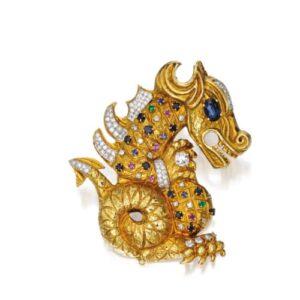 Webb Multi-Stone & Gold Dragon Brooch.