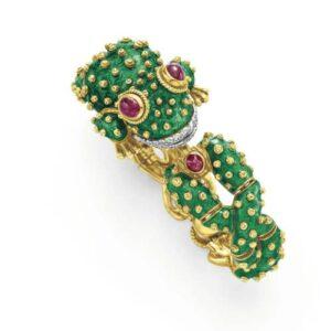 Webb Enamel & Gold Frog Bangle Bracelet/Watch.