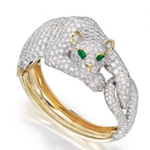 Webb Diamond & Gold Panther Bangle Bracelet.
