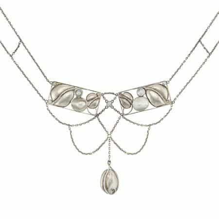 Mother-of-Pearl & Silver Necklace Designed and Produced by the Wiener Werkstätte. Photo Courtesy of Doyle New York.