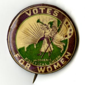 Harriot Stanton Blatch's Women's Political Union Button Adopting the Colors of the British WSPU.