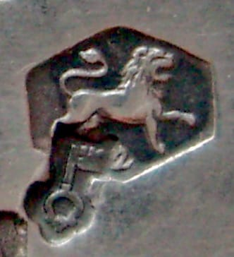Dutch Export Mark (a Key) on the 2nd Standard Lion for Silver. Image Courtesy of the Hallmark Research Institute