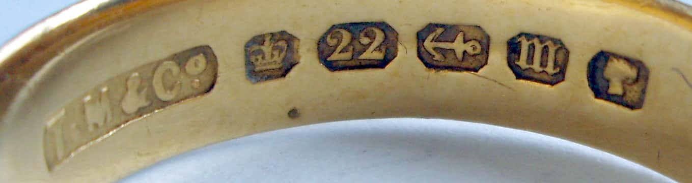 Hallmarks on a Victorian Ring by Thomas Morrall, Birmingham, UK, 1867. Image Courtesy of the Hallmark Research Institute.