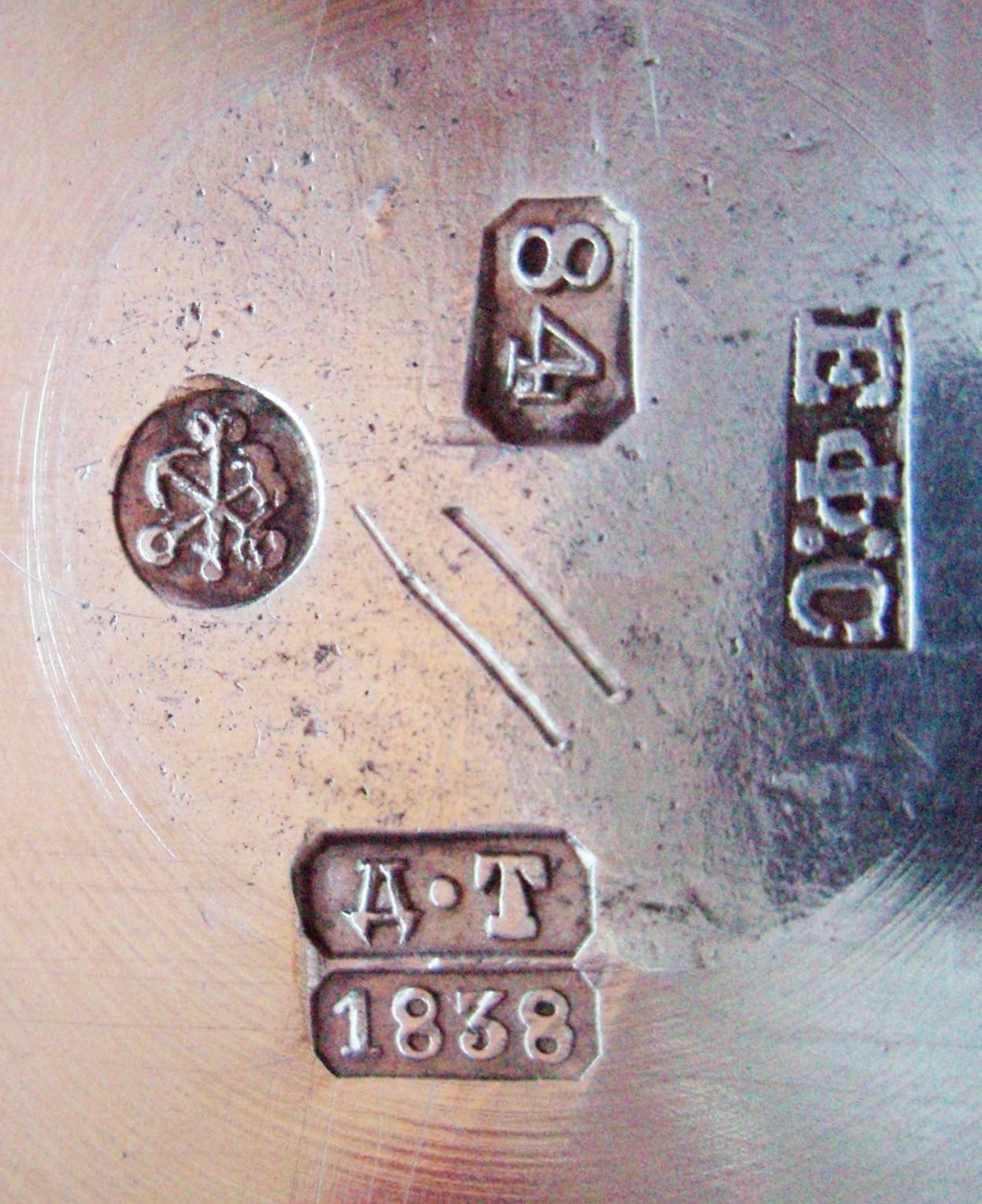 Typical 19th Century Russian Hallmarks. St. Petersburg, 1838. Image Courtesy of the Hallmark Research Institute