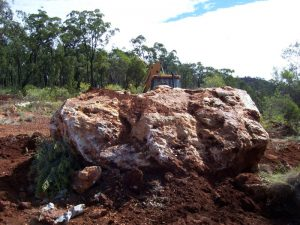 A 16 Ton Boulder at the Excavation.