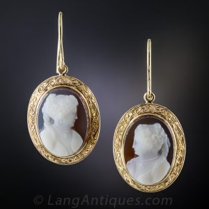 Victorian Sardonyx Cameo Drop Earrings.