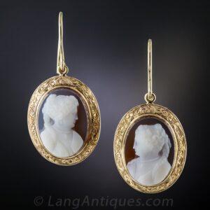 Victorian Sardonyx Cameo Drop Earrings.