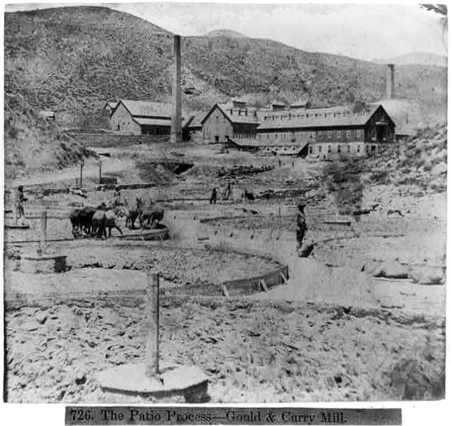 An Albumen Print of the Patio Process at the Gould & Curry Mill at the Comstock Lode, Nevada, 1866.