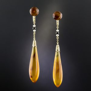 Art Deco Amber Teardrop Earrings. Signed Day, Clark & Co.