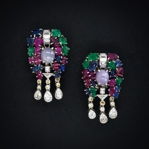Art Deco Tutti Frutti Earrings c.1925. Carved Rubies, Emeralds & Sapphires.