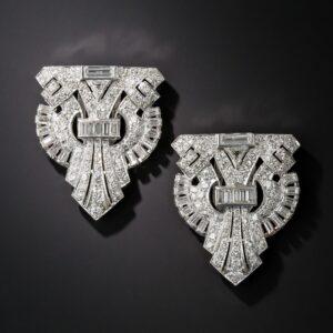 Art Deco Double Clip Brooch.