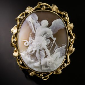 Victorian Shell Cameo Depicting Archangel Michael Slaying Satan.