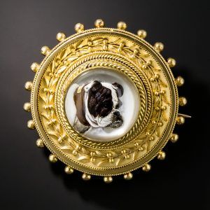 English Bulldog Reverse Crystal Intaglio Brooch.