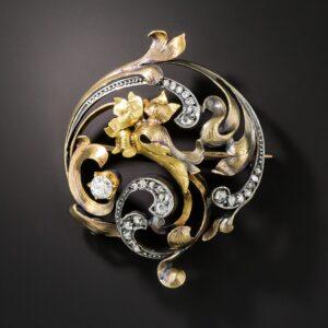 Art Nouveau Foliate Motif Diamond Brooch.