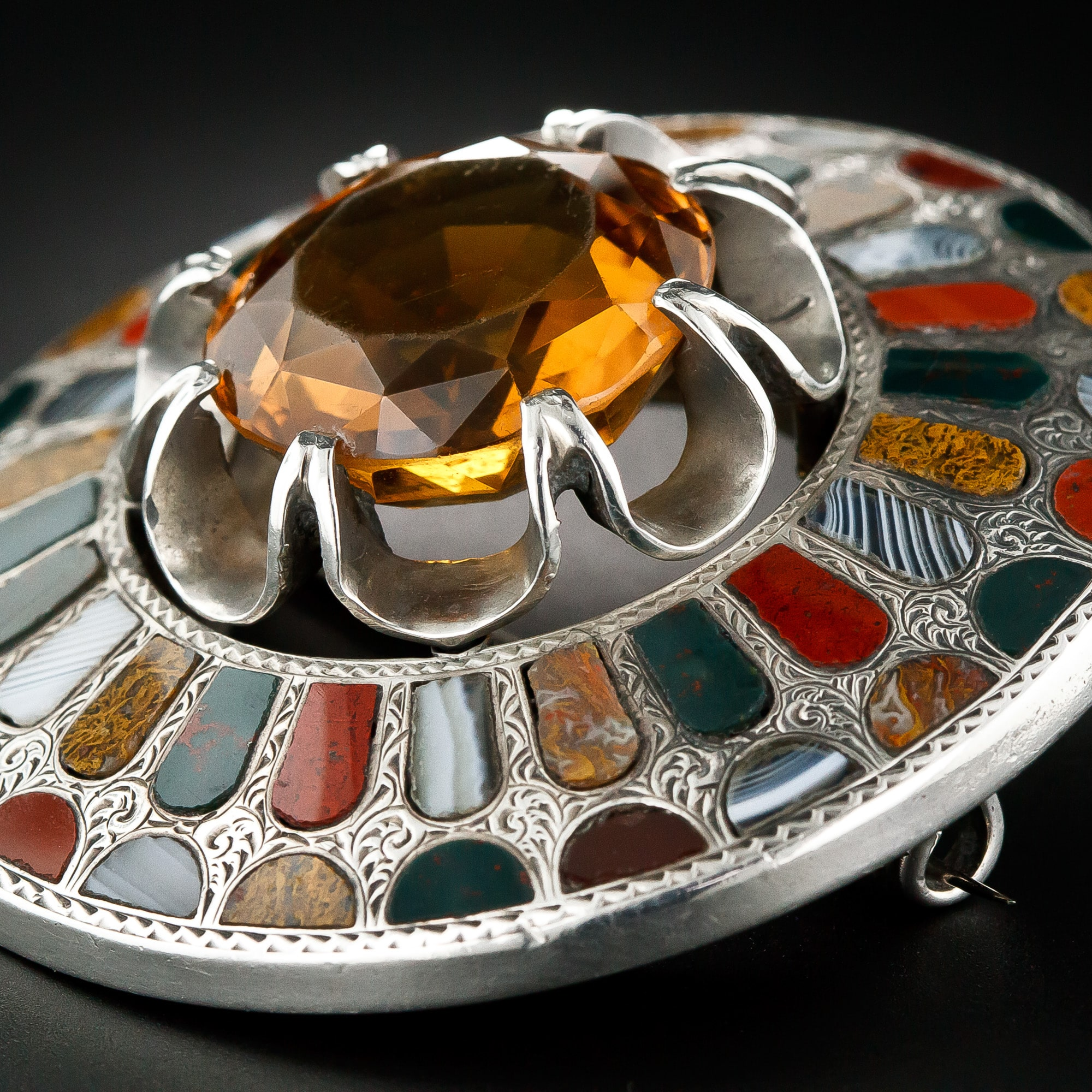 Antique Scottish Agate and Citrine Silver Brooch.