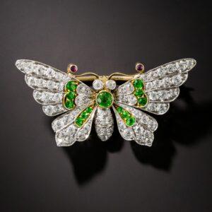 Diamond and Demantoid Garnet Butterfly Brooch c.Fin de Siecle.